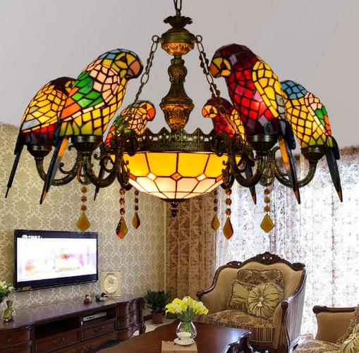 Image 5 - American Pastoral Tiffany Style Retro Luxury Parrot Bird Pendant Light Stained Glass Bar Living Room Parlor Hanging Lighting-in Pendant Lights from Lights & Lighting