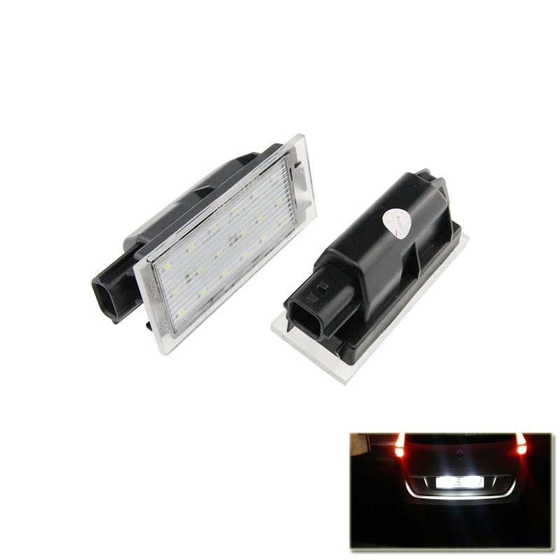 Direct Replacement Lamp For Renault Clio Megane Twingo II Lagane II5D Vel Satis Master White Car Led Number License Plate Lights