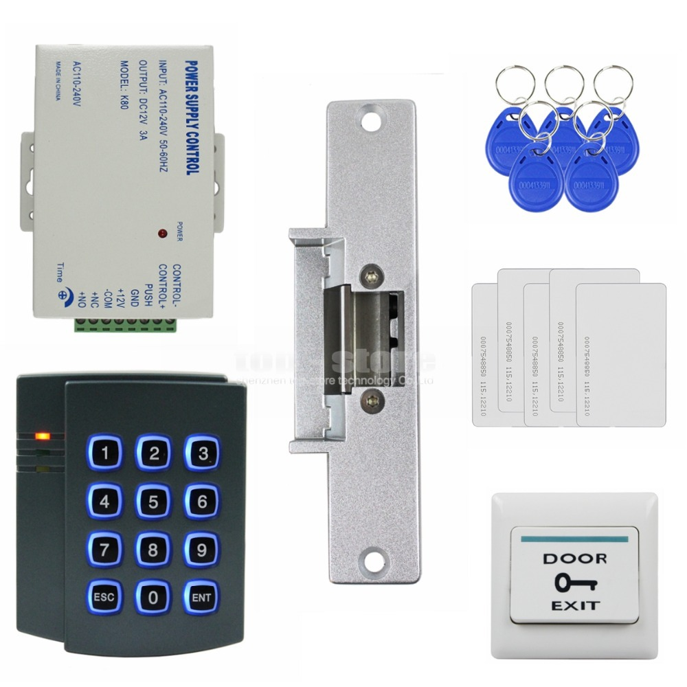 DIYSECUR Strike Lock 125KHz RFID ID Card Reader Password Keypad Access Control System Security Kit 2501 diysecur lcd 125khz rfid keypad password id card reader door access controller 10 free id key tag b100