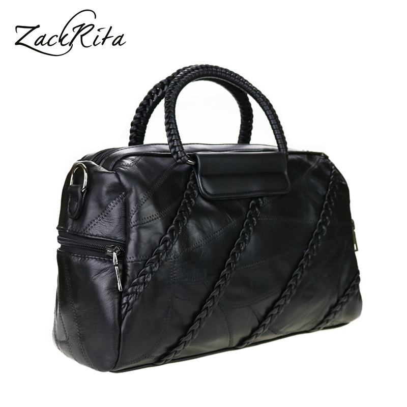 ZackRita Women Soft Genuine Leather Designer Handbags High Quality Work Casual Crossbody Big Lady Bag Hand Bags Large Capacity купить