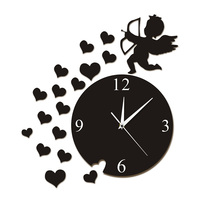 Cupid Arrow Hearts Cherub Angel Wall Art Home Decor Modern Wall Clock Flying Cupid Love Angel Decorative Wall Watch Clock Gift