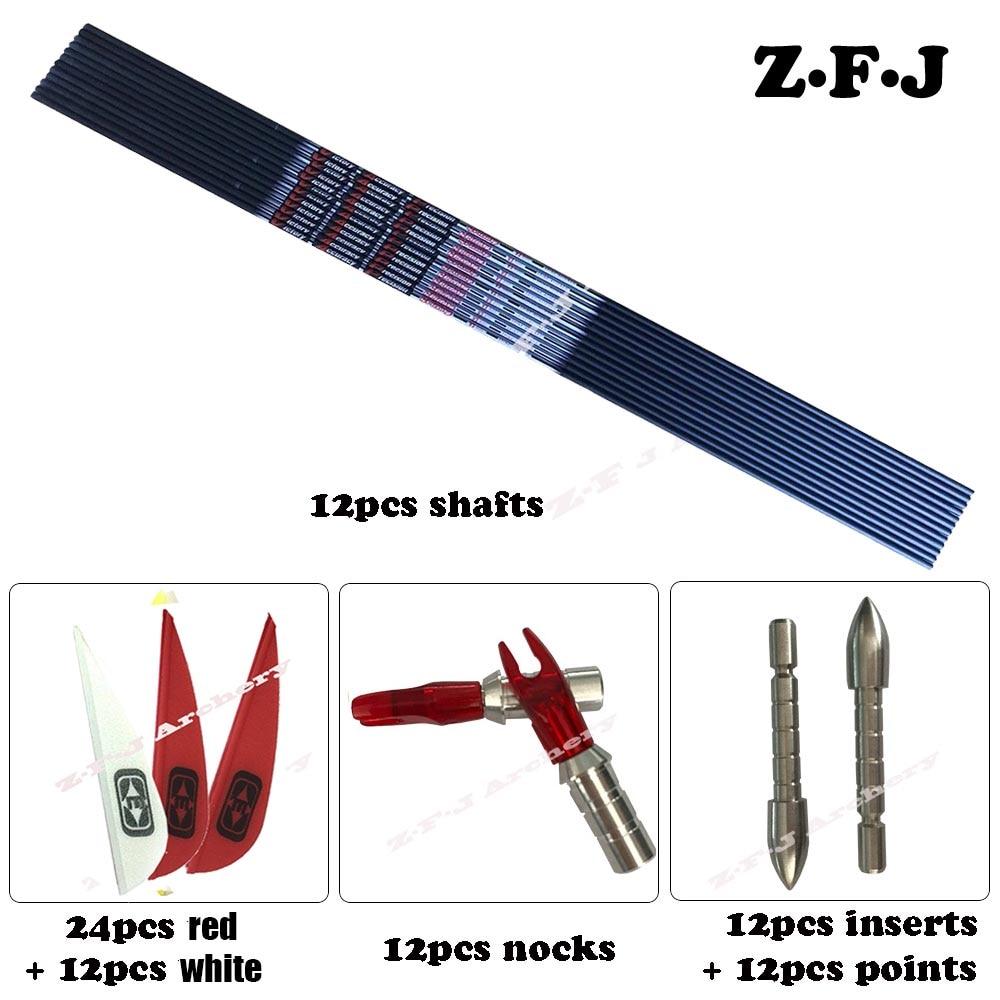 12pcs V6 Spine 350 400 700 800 900 Carbon Arrow ID 4 2mm Plastic Vanes Steel