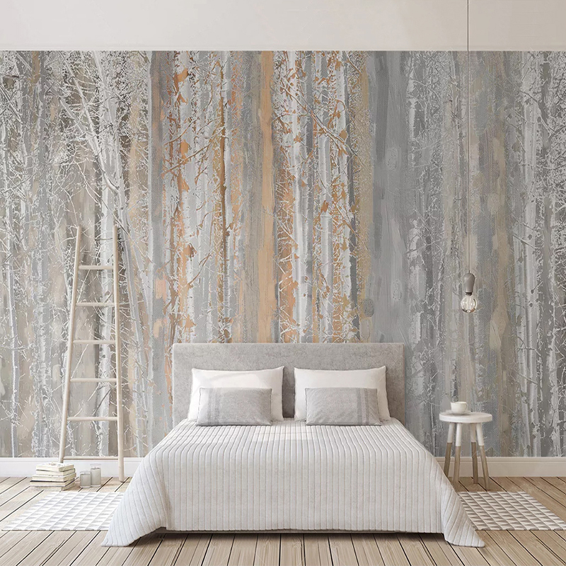 Custom Photo Wall Paper Abstract Art Oil Painting Forest Tree Nordic Style Living Room Sofa TV Background Wall Murals Wallpaper