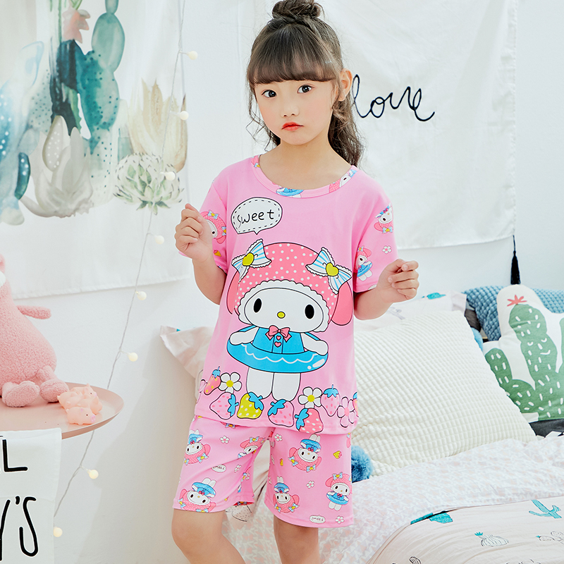 Pajamas For Girls 2018 New Summer Short Sleeved Sleepwear Children's Clothing Kids Cute Princess Pajama Sets Children's Day Gift fancy nancy pajama day level 1