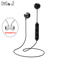 M J 820 Half In Ear Wireless Bluetooth Earphone Magnetic Stereo Sport Running Headsets With Mic
