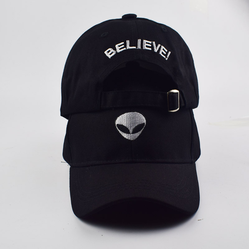 Unisex Baseball Cap Black Alien Embroidered Cap Fashion cotton Adjustable Snapback hat Hip-hop hats Baseball Caps Hat wholesale