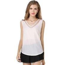 цена на women sexy chiffon camis tanks top shirts white and black  summer vest chiffon blouses fashion V neck patchwork top camis