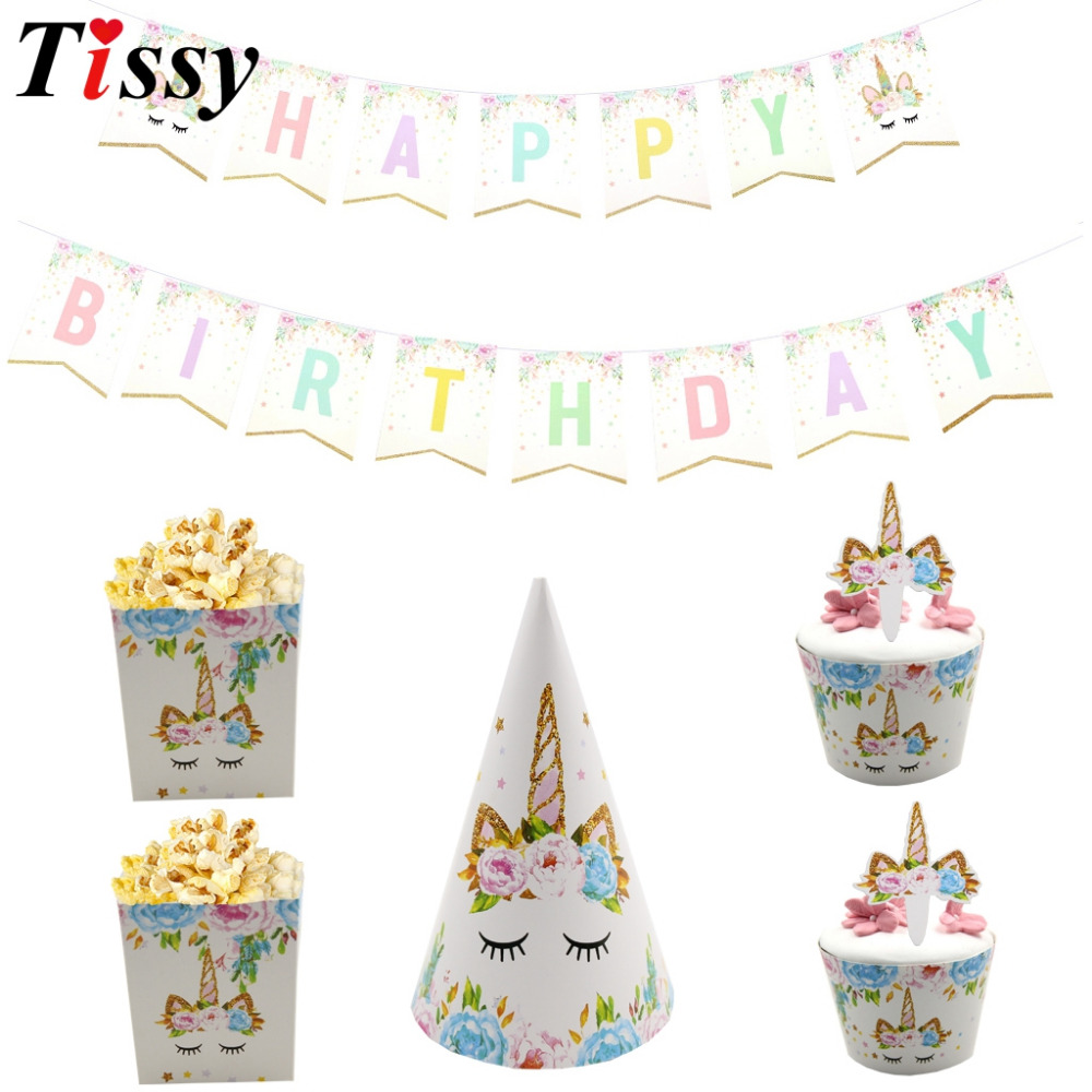 1Set Cartoon Rainbow Unicorn Horse DIY Banners/Popcorn Box/Cupcake Wrappers Topper/Hat For Kids Birthday Pool Party Decoration