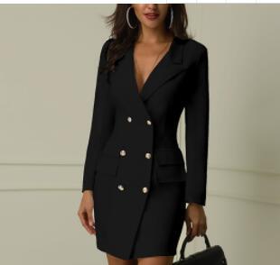 Autumn Winter Suit Blazer Women 2019 New Casual Double Breasted Pocket Women Long Jackets Elegant Long Sleeve Blazer Outerwear
