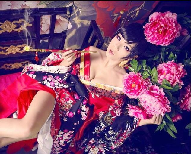 High Quality Custom Made Japanese Kimono Set Plum Flower Cosplay Costume Beautiful Woman Sexy Dress Performance Kimono