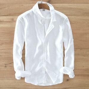 Image 1 - גברים של 100% טהור פשתן ארוך שרוולים חולצה גברים מותג בגדי גברים חולצה S 3XL 5 צבעים מוצק לבן חולצות גברים camisa חולצות mens