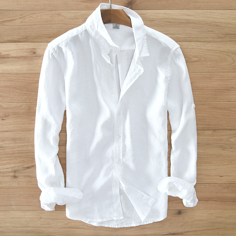 Mäns 100% rent linne långärmad tröja män märke kläder män shirt S-3XL 5 färger fast vit skjortor män camisa shirts män