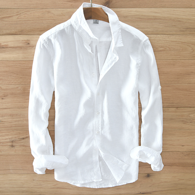 Mens 100% pure linen long sleeved shirt men brand clothing men shirt S 3XL 5 colors solid white shirts men camisa shirts mens