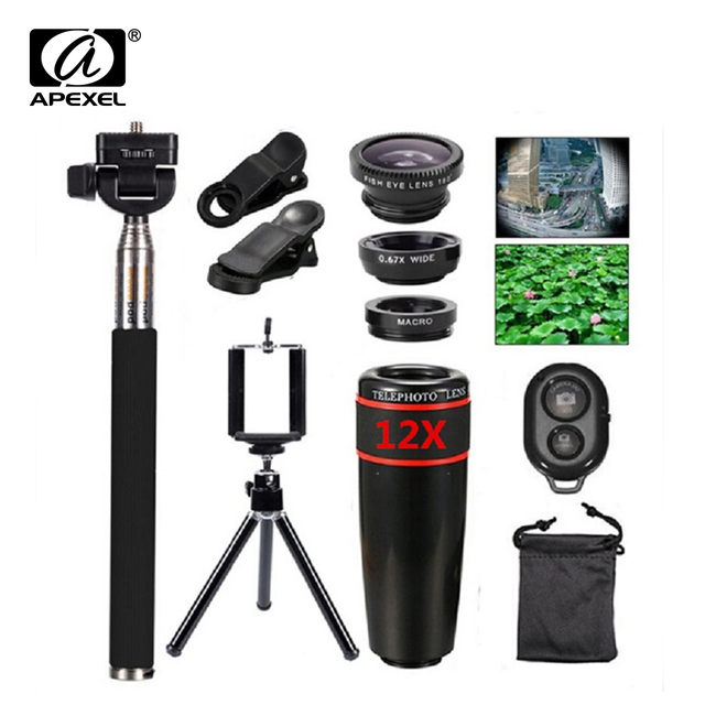 10in1 Lens Kit 12x Telephoto Lens + Fish Eye Lens+Wide Angle+Macro Lens Selfie Stick Monopod +Bluetooth Remote+Tripod For Phones