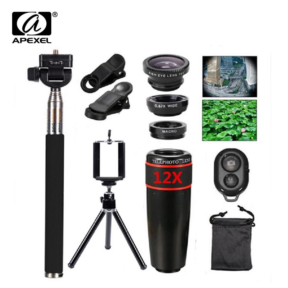 Цена за 10in1 Kit объектив 12X телеобъектив + Рыбий глаз объектив + широкий угол + макро объектив палка для селфи монопод + Bluetooth Remote + Штатив для телефонов