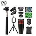 10in1 kit lente 12x teleobjetivo + lente ojo de pez + lente granangular + macro selfie stick monopod + bluetooth remoto + trípode para teléfonos