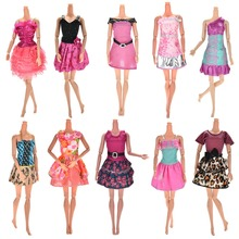 10Pcs lot Hot Sale Multi Colors Party Dress for Barbies Doll Clothing Luxury Gift for Girl