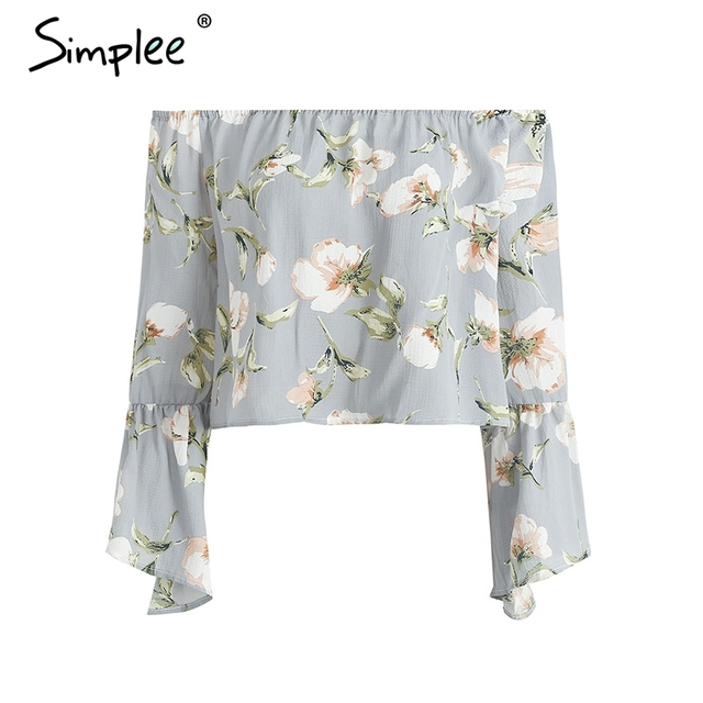 Simplee Flare sleeve floral print blouse shirt Summer sexy off shoulder women blouses Casual streetwear cool blouse blusas