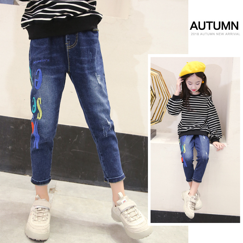Ripped Jeans For Kids Girls 2018 Autumn New Fashion Slim Denim Pant Teenagers 3 4 5 6 7 8 9 10 11 12 13 Years Toddler Girl Cloth print overalls jeans for girls 3 4 5 6 7 8 9 10 11 years 2018 new fashion baby girl fall clothes print jumpsuit long denim pant