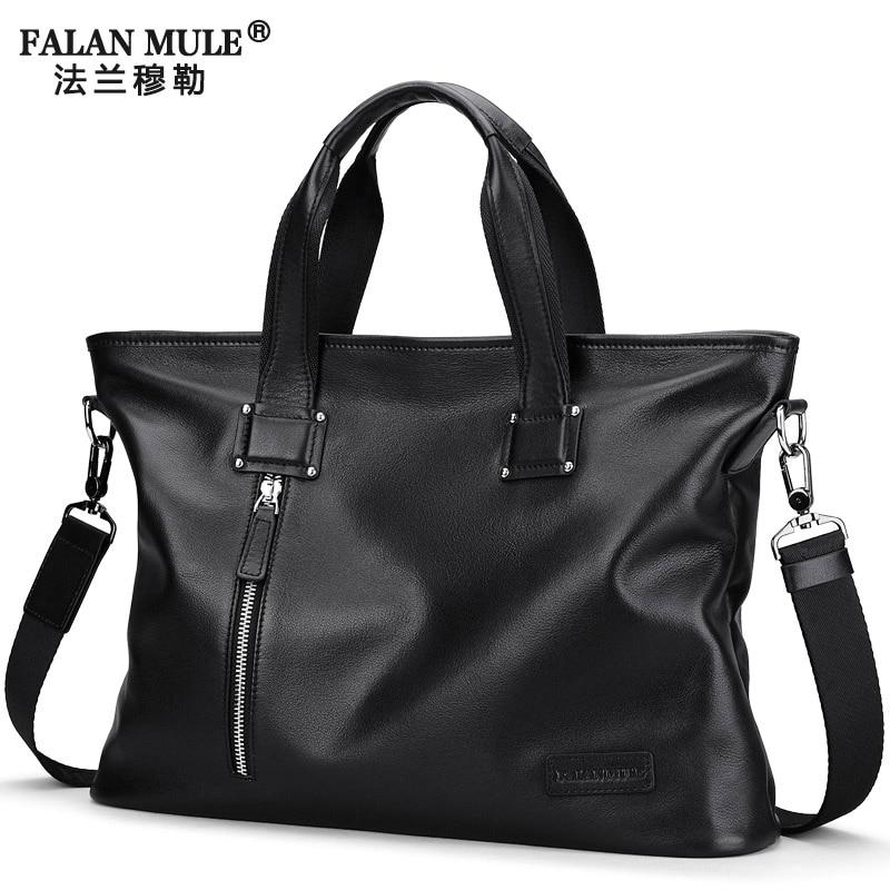 цена FALAN MULE Genuine Leather Handbag men brand Business men briefcase should Messenger Bags онлайн в 2017 году