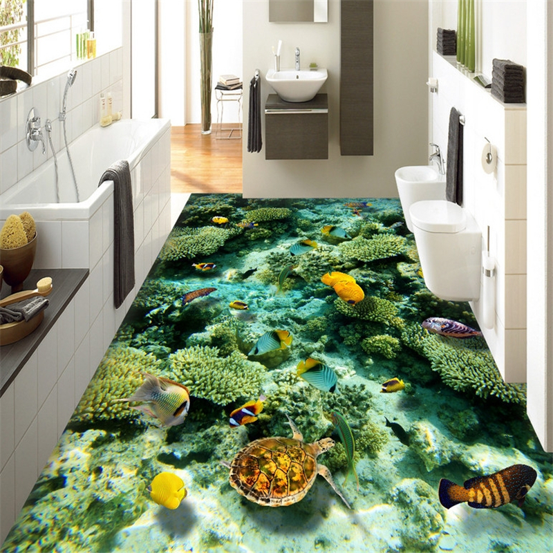 beibehang Photo Floor Wall paper Underwater World Landscape Living room Bedroom Floor 3D Mural PVC Self-adhesive Wallpaper roll beibehang mural wallpaper 3d stereoscopic creative wall paper for living room bedroom bathroom floor pvc self adhesive sticker