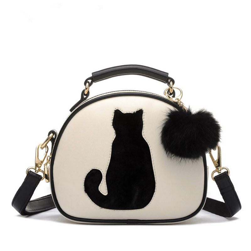 Women Handbag Crossbody-Bag Candy-Color Cute Full-Moon with PU Fur-Ball B014 Cat