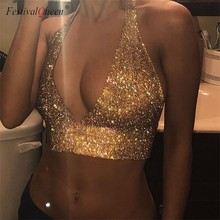 FestivalQueen sexy luxury cut out deep V neck tank top women 2018 new sequined summer shiny rhinestone metal backless crop tops(China)