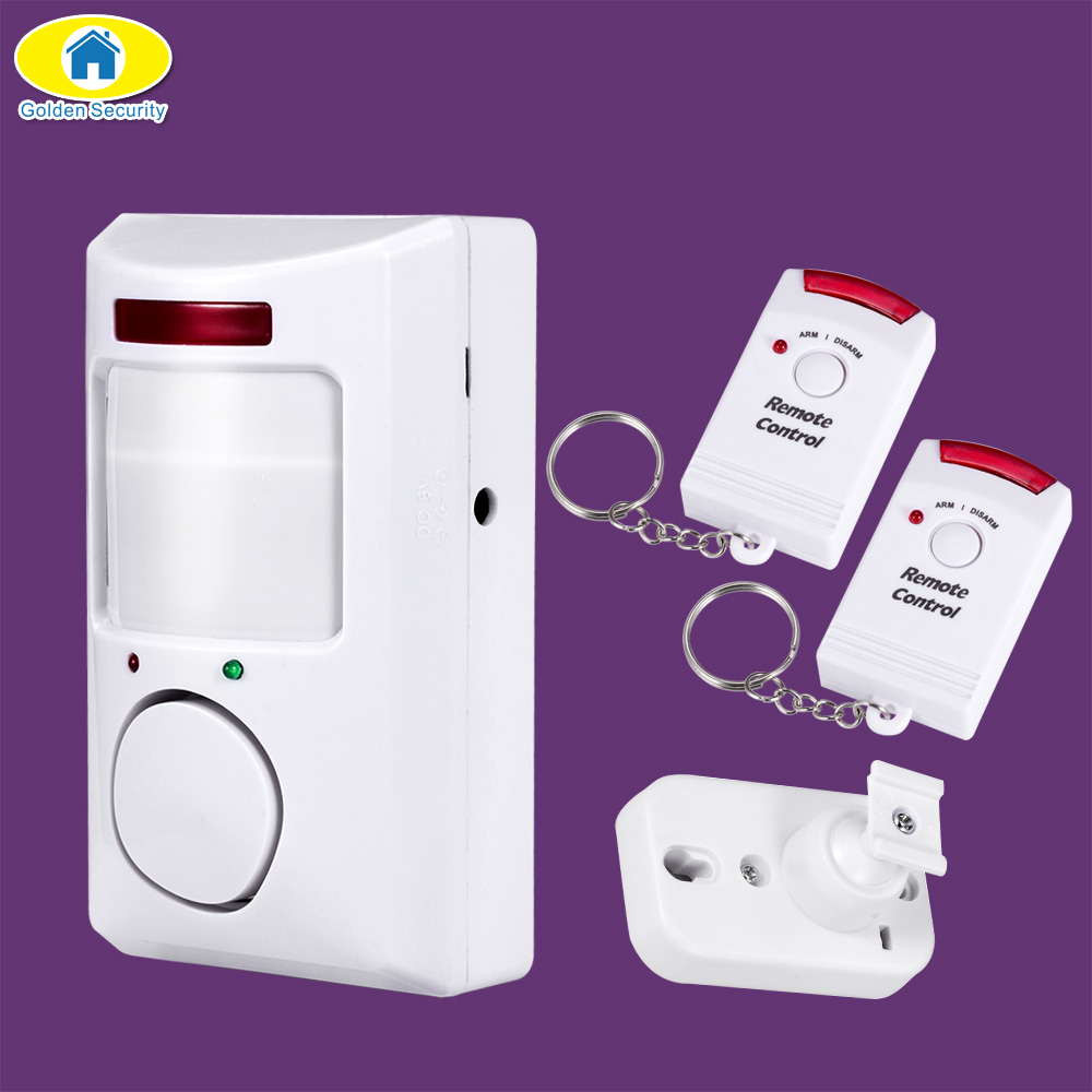 Detector de movimiento infrarrojo antirrobo Detector de movimiento portátil de seguridad dorada 105dB PIR sistema de alarma de seguridad para el hogar + 2 controladores