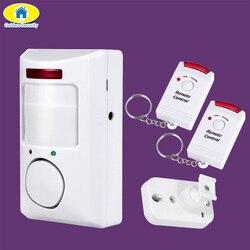 Goldene Sicherheit Tragbare 110dB Pir-bewegungsmelder Infrarot Anti-diebstahl Motion Detektor Home Security Alarm system + 2 controller