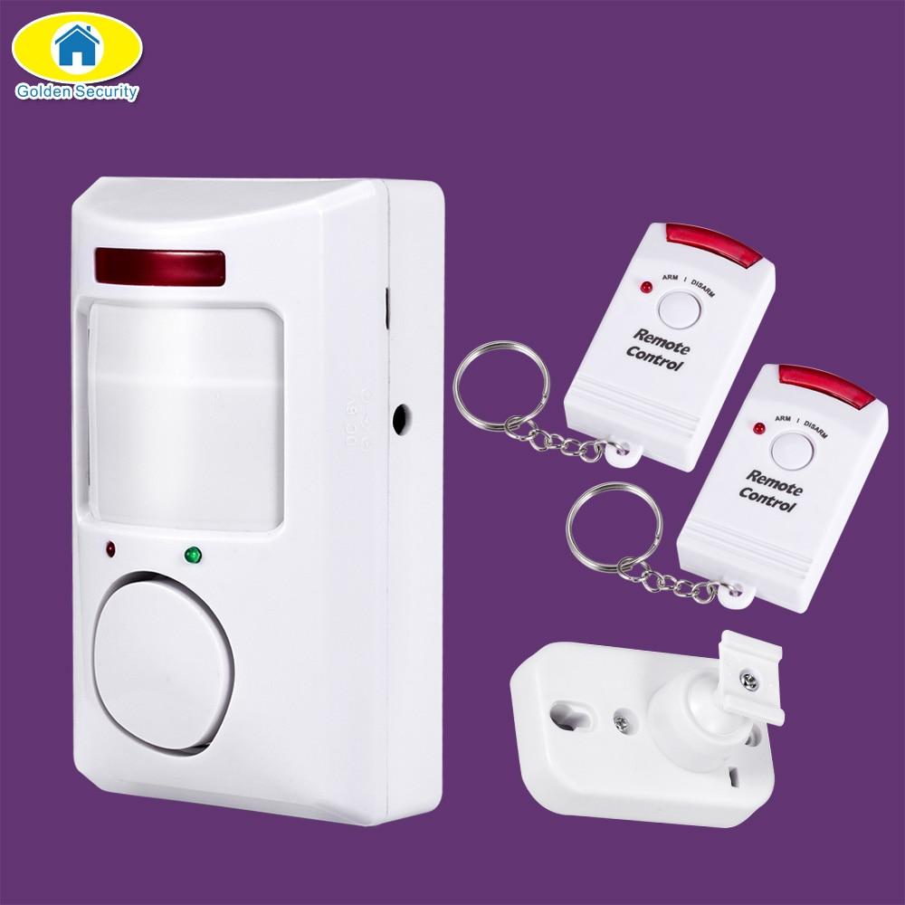 Goldene Sicherheits Tragbaren 105dB PIR Bewegungsmelder Infrarot diebstahl Bewegungsmelder Home Security Alarm system + 2 controller