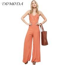 DOMDOA 2017 Backless Slim Jumpsuit Women Cami Strap Solid Flare Pants Female Brief Sleeveless Contrast Lace Playsuit Ladies