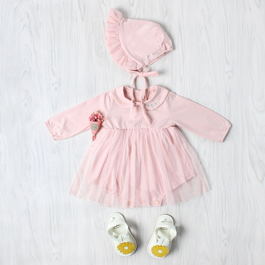 Autumn Cotton Baby Rompers Infant Toddler Jumpsuit Mesh Patchwork Long Sleeve Baby Girl Clothing Newborn Bebe Overall Clothes