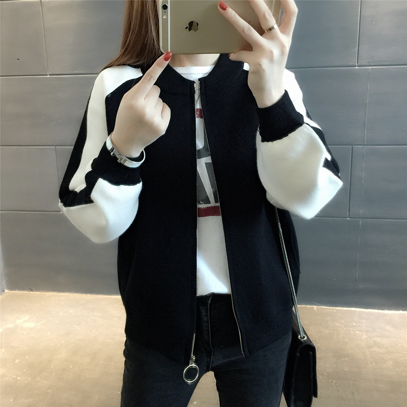 Winter Cardigan Knitted Sweater Coat Female Autumn New Women Casual Loose Baseball Uniform Jacket Outwear