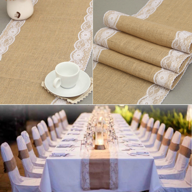 Vintage Burlap Hessian With Lace Tablecloth Dining Table Cover Home Decor Christmas Jute Cloth Rustic Wedding Decoration