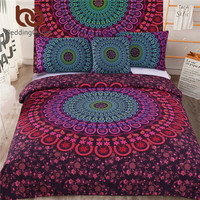 BeddingOutlet 5pcs Bed in a Bag Bedding Set Bohemian Floral Printed Bedclothes Fixed Combination Bed Cover Twin Full Queen King