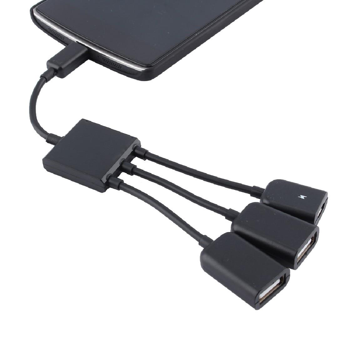 4 Port 3 In 1 Micro Usb Power Opladen Otg Hub Cable Adapter Converter Extender Voor Mobiele Telefoons Voor Samsung Galaxy 80