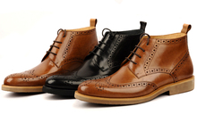 Fashion black / brown oxfords shoes mens boots genuine leather shoes mens dress boots business mens ankle boots
