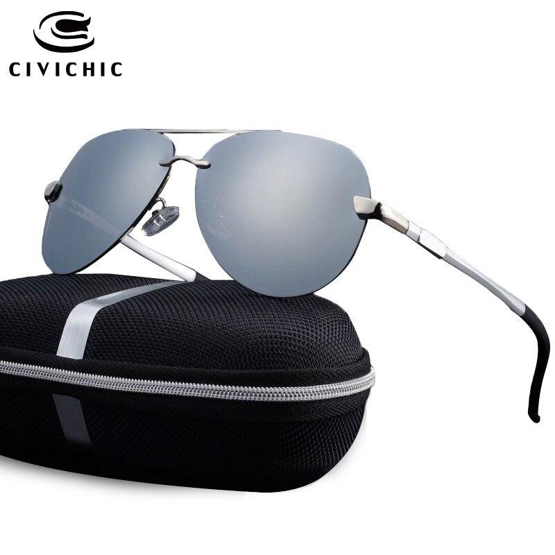 CIVICHIC Klassische Mann Al-Mg Polarisierte Sonnenbrille Frosch Spiegel Mantel Brillen Polizei Oculos De Sol Gläser Fahr Aviator Gafas E196