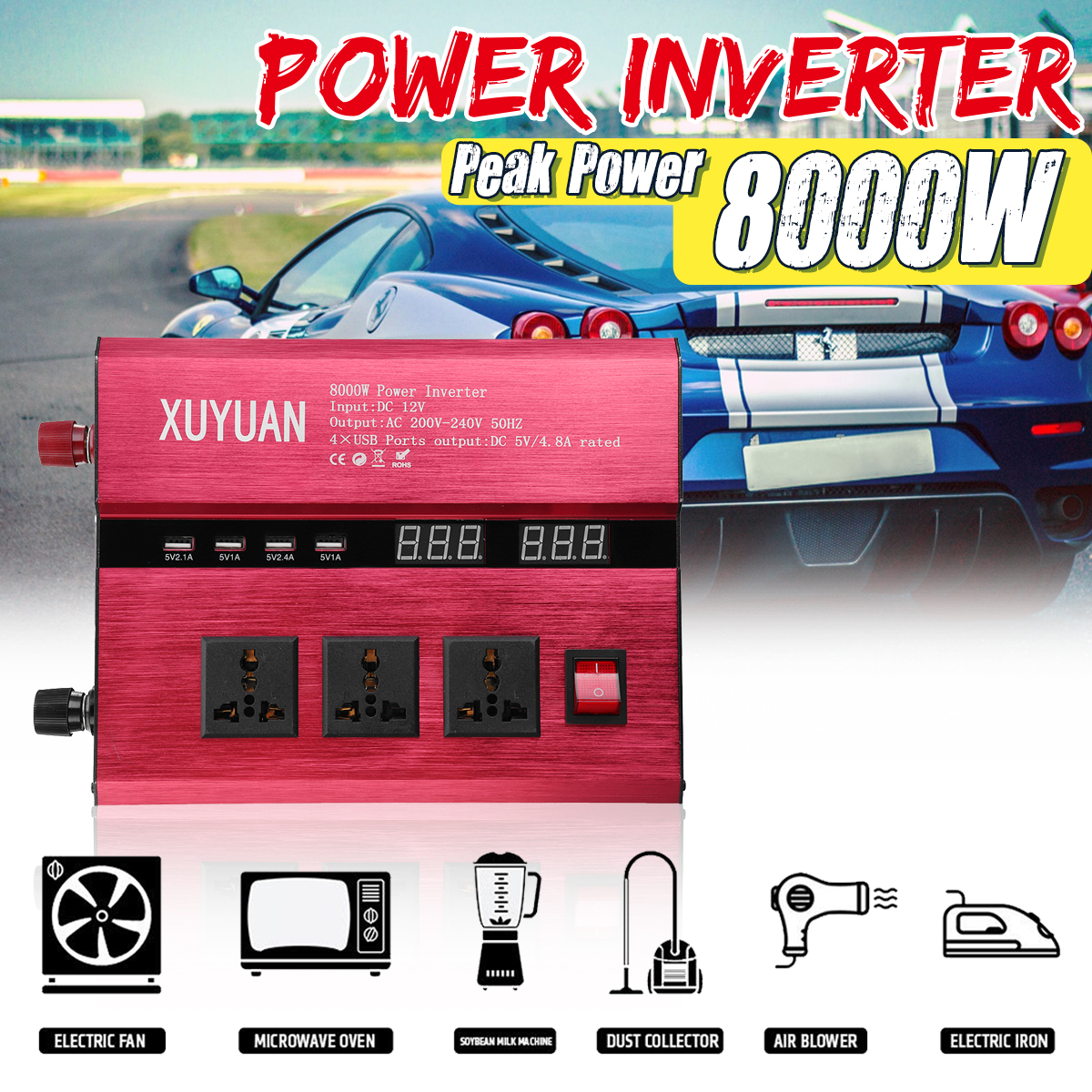 Inverter 12V 220V 8000W Peak Car Power Inverter Voltage Transformer Converter 12 220 Charger Solar Inversor 12V 220V LCD Display car inverter 12v 220v power inverters voltage transformer converter 12 220 1000w charger on display solar adapter 12v 220v dy104