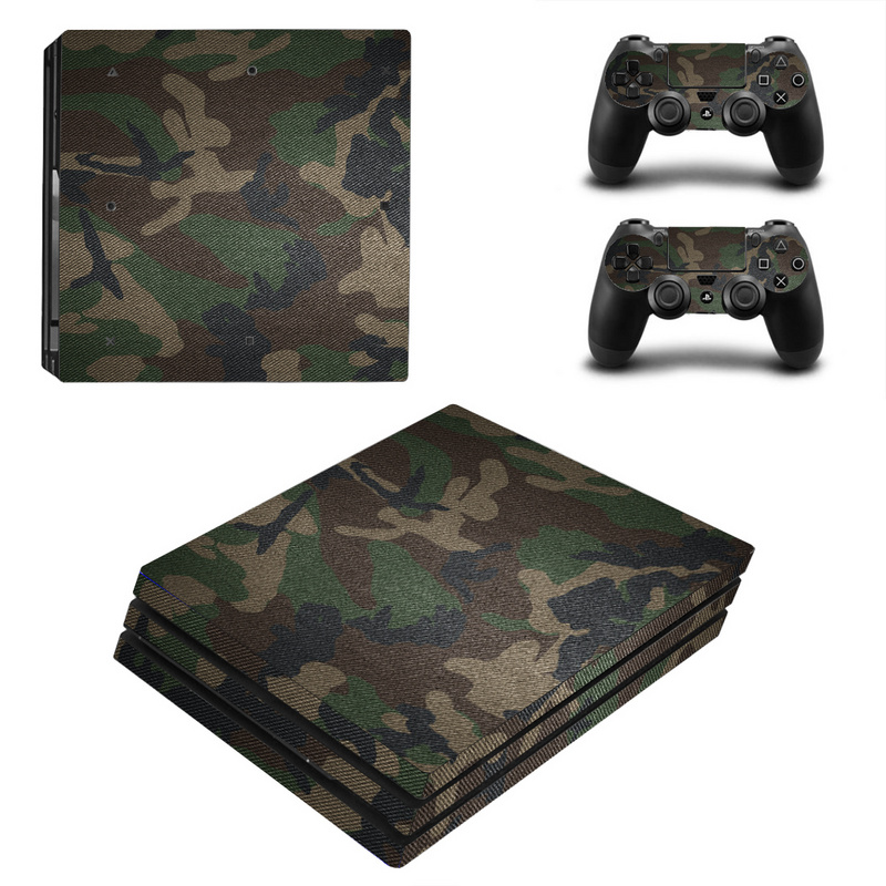 Camouflage Protector Skin Sticker Cover Wrap For Sony Playstation 4 Pro Console & 2PCS Controller Skin Decal For PS4 Pro
