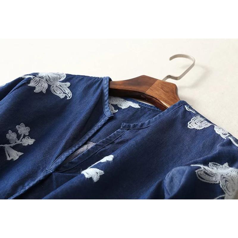Manga cuello Larga Primavera 2 Floral Tops Bordado Casual Moda Blusas Nueva O Verano Blusa De Mujeres 2018 Feminina Vaqueros 1 Camisa xwvwfOq