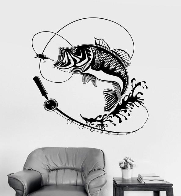 Calcomanía de vinilo para pared para decoración del hogar, caña de pescar, adhesivo para Hobby, Mural, regalo único, papel tapiz Interior 2KN2