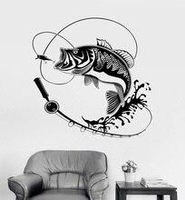 Décor maison vinyle mur décalcomanie poisson canne à pêche passe temps autocollant Mural Unique cadeau intérieur papier peint 2KN2