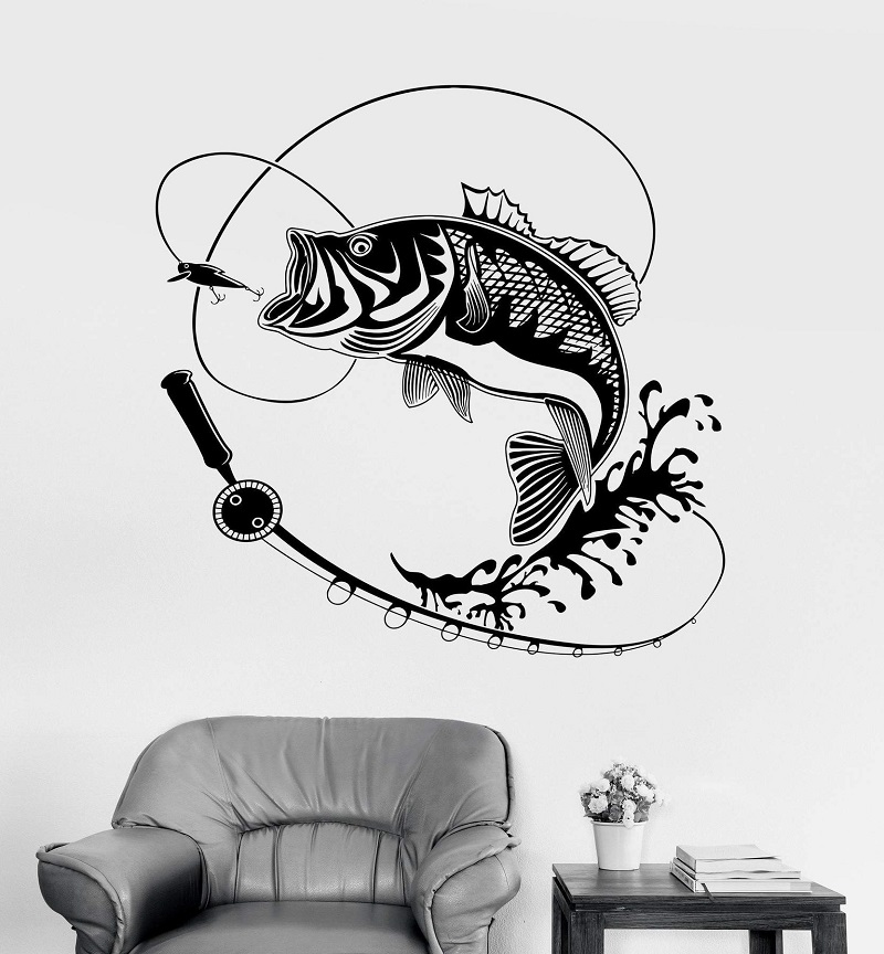 Home Decor Vinyl Wall Decal Fish Fishing Rod Hobby Sticker Mural Unique Gift Interior Wallpaper 2KN2-in Wall Stickers from Home & Garden