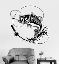 Home Decor Vinyl Wall Decal Fish Fishing Rod Hobby Sticker Mural Unique Gift Interior Wallpaper 2KN2