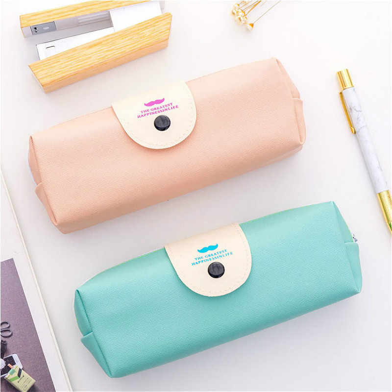 Kawaii Simple Pencil Case Quality PU School Supplies Stationery Gift Pencilcase School Cute Pencil Box School Tools