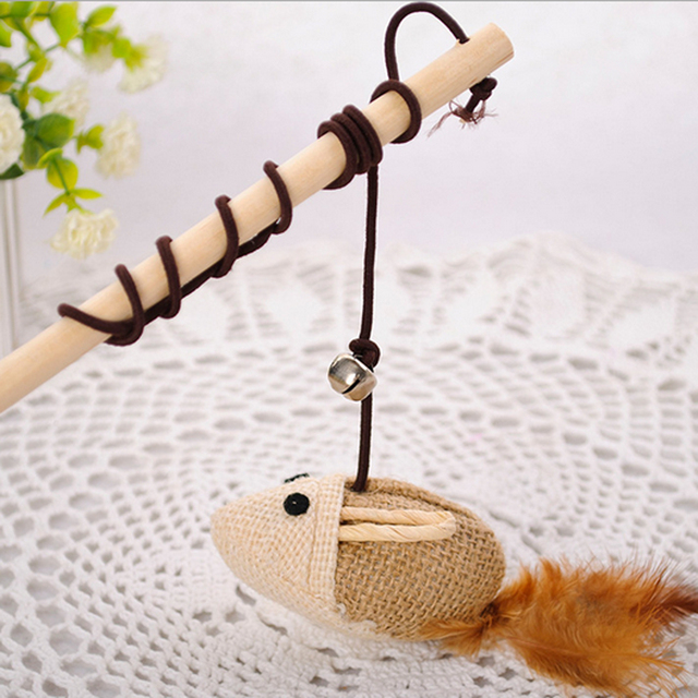 1pcs Interactive Product for Cheap Cat Toys With Bells Elastic Rod Interactive Cat Toy Mouse Type