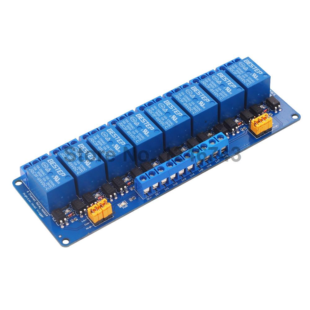5V 12V 24V 8 Channel Relay Module High and low Level Trigger Dual Optocoupler Isolation 5V 12V 24V Relay Module blue red sla 24vdc sl a 1 channel low level dc 24v coil power relay module