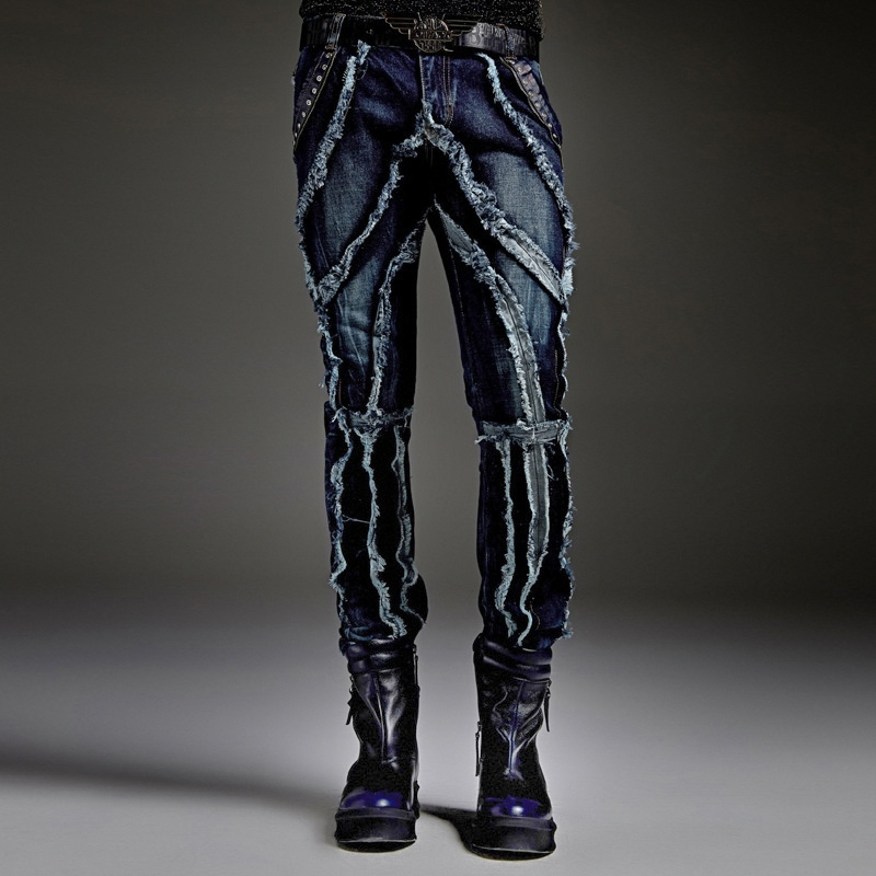 Autumn Winter Male Jeans Unique Design European Men's Fashion Straight Pants Masculine Personality Slim Hole Trousers mens overalls fashion 2017 spring and autumn fashion new products straight splicing hole jeans personality street trousers c165