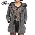 Новая Корея Стиль Леди Зима Шерстяные Куртки Плюс Размер L-4XL Женщины С Капюшоном Пальто Смесь Молния Вверх Женская Мода Теплый Верхняя Одежда